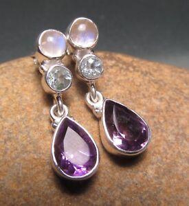 925 sterling silver triple amethyst/topaz/moonstone earrings. Gift bag.