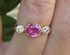 $8,420 1.63ct Natural Untreated Pink Sapphire Diamonds 18k Yellow Gold Ring