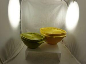 vintage green yellow SERVALIER  bowls set of 2 Tupperware 840 & 836