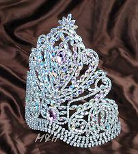 "US Large Round 9"" Pink Tiara Crystal Rhinestone Crown Miss Pageant Hair Jewelry"