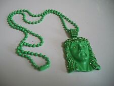 Mens Green Painted Finish  CZ JESUS  Pendant with Complementary  Chain