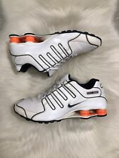 Nike Shox NZ Men's Size 11 White Orange Black Leather Running Sneakers