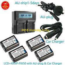 ^^4xBattery+LCD Dual Charger for Sony NP-FW50 BC-VW1 NEX-3C NEX-5 A7S A7 II A7R2