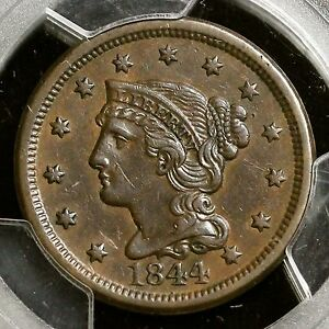 1844 PCGS XF 45 Braided Hair Large Cent Coin 1c