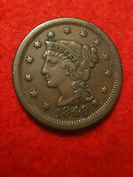 1848 Braided Hair Mature Head Large Cent Choice AU About Uncirculated xf Penny