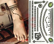 Jewelry Fashion Temporary Tattoos Art Sticker -  Green Jewelry Temporary Tattoo