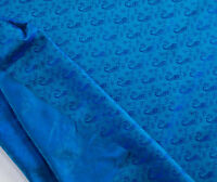 "Iridescent Shot Silk Fabric in Peacock Blue with Woven Paisley Design 44"" Wide"