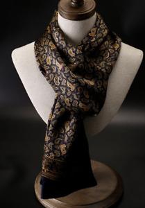 100% Silk Scarf men women neckerchief Wrap paisley floral blue yellow QS175-13