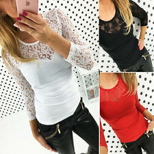 Women Stylish O Neck Casual Long Sleeve Slim Lace Tops Blouse Shirt S-XL