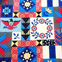 VTG Set Of 4 Barkcloth Curtain Panels Patchwork Quilt Style Eagle Pleated Top