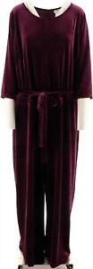 Joan Rivers Petite Length Velour Jumpsuit 3/4 Slvs Aubergine P2X # A298061