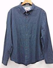 An Original Penguin Men's Shirt Slim Fit Button Down Blue Checkered Size XL