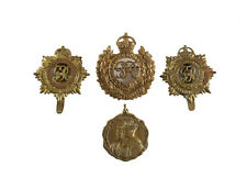 4 British Medals Coronation George VI Elizabeth Royal Engineers Cap Badge c1930