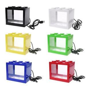 Mini Aquarium USB Aquarium Mit LED Lampe Licht Betta Zylinder Kampf Fisch R4F3
