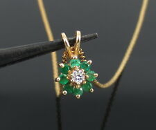 Vintage 0.06ct Diamond 0.32ct Colombian Emerald 14K Yellow Gold Cluster Necklace