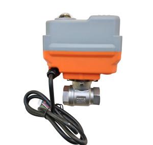 desgaste y duradera G1//2inch DN15 Lat/ón 3 v/ías 220VAC V/álvula el/éctrica de bola motorizada para control de flujo para el hogar industrial V/álvula de bola motorizada