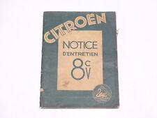 Documentation automobile - Notice d'entretien Citroen 8CV 1932