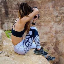 Women Yoga Fitness Leggings Running Gym Tree Printed Sports Pants Trousers L