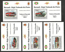 BURUNDI 2013 FIRE ENGINES CARS TRANSPORT SET 5 DELUXE M/SHEETS MNH