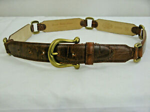 Fossil Reptile Embossed Brown Leather Boho Belt Brass Buckle & Links size M