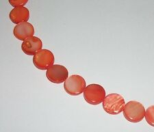 Mother of Pearl (MOP) flat coin 10mm Shell Beads Red Orange