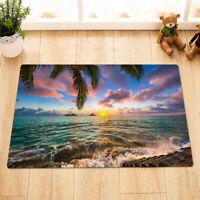 Tropical Ocean Sunrise Printed Floor Mat Kitchen Rug Carpet Absorbent Bath Mat