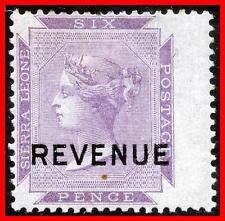 SIERRA LEONE 1892 QUEEN VICTORIA w/REVENUE o/PRINT on SC#1a MH HR (E-B5)