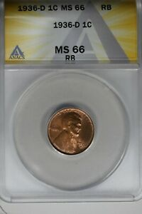 1936-D   .01   ANACS   MS 66 RB    Lincoln Head Cent, Lincoln One Cent