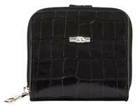 LONGCHAMP Roseau Style Bifold Croco Croc Embossed Leather Wallet Black MSRP $250