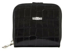 Longchamp Roseau Style Bifold Black Croco Croc Embossed Leather Wallet MSRP$250