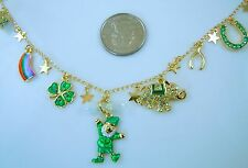 Kirks Folly LUCKY CHARMS STAR CHAIN CHARM NECKLACE  St. Patricks Day  Goldtone