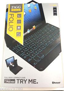ZAGG keys Folio Case Wireless Bluetooth Backlit Keyboard iPad mini 1 & 2 Retina