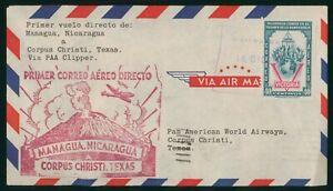 MayfairStamps Nicaragua 1946 Managua to Corpus Christi Texas First Flight Cover