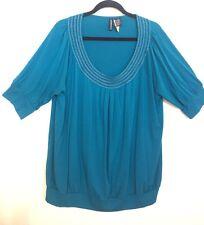 Jason Maxwell Women's Knit Blue Top Embellished Neckline In Gold Deep U Size 2XL