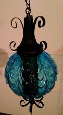 Vintage Blue Hanging Swag Lamp! Excellent Condition And Works Perfect!
