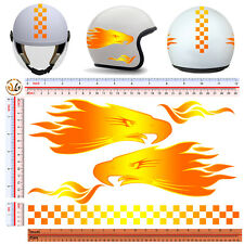 Adesivi casco fiamme aquila strisce sticker helmet eagles flames fire 5 pz.