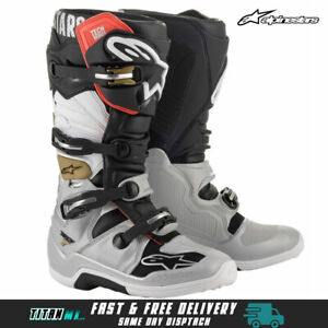 2021 Alpinestars Tech 7 Motocross MX Dirt Bike Boots Adults- Black Silver Gold