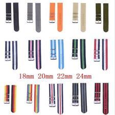 Universal Vintage Nylon Canvas Loop Wrist Sports Watch Band Strap 18/20/22/24 mm