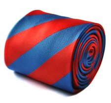 Frederick Thomas red and royal blue barber striped tie FT1688