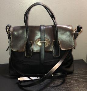 Dooney&Bourke Brown Leather Trim Black Canvas Top Handle Crossbody Satchel
