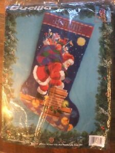 """Bucilla 1994 SANTA ON THE ROOFTOP Needlepoint 18"""" Stocking Kit, by Nancy Rossi"""