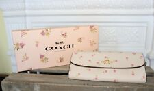 Coach Floral Soft Wallet Leather Chalk White Pink Charms Gift Box Purse Clutch