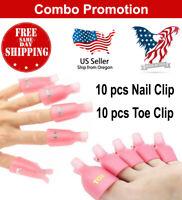 10 Pcs Toe + Nail Clip UV Gel Polish Remover Wraps Soak Off Cap Art Tool - US