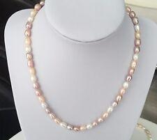 Perlenkette 6mm Rosa Weiß Süßwasserperlen Halskette AA Qualität |Geschenk