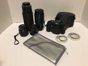 Vintage/Antique Lot of Sears Dual2 Program KSX-P Film Camera & Filters*Works!
