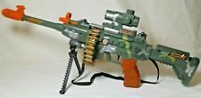 Combat Toy Machine Gun Rifle Battery Operated Sound, Lights And Action, New