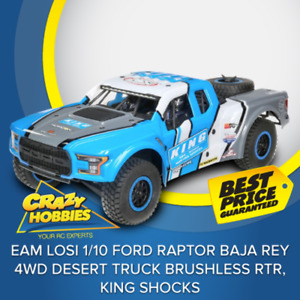 Team Losi 1/10 Ford Raptor Baja Rey 4WD Desert Truck Brushless RTR, King Shocks