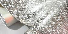 Mini Mosaic Tiles Luxury Metallic Design Glitter Silver/Gold Foil Wallpaper Roll