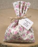 Shabby Chic Vintage Pink Tea Rose Floral Wedding Favour Bags Personalised 1-100