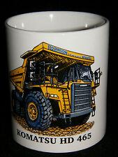 BN Komatsu HD 465 Dumper Truck Stoneware Mug,  1/2 pint mug, construction mug